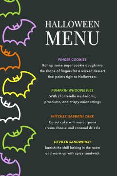 Black and Colorful Halloween Bat House Party Menu Halloween Party Menu