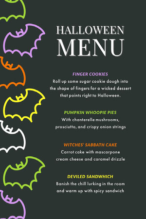 Black and Colorful Halloween Bat House Party Menu Halloween Party