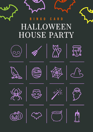 Black and Colorful Halloween Bat House Party Bingo Card ビンゴカード