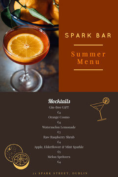 Brown Spark Bar Summer Menu  Drink Menu