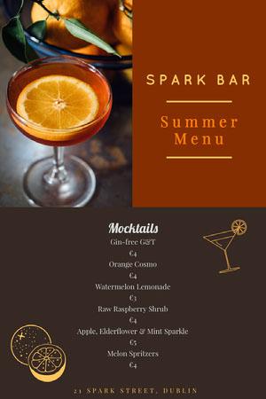 Brown Spark Bar Summer Menu  Drink Menu
