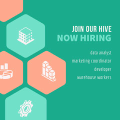 Pink and Green Hiring Company Instagram Graphic Help Wanted Flyer