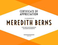modern certificate of appreciation  Orange