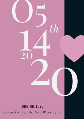 Pink Save the Date Wedding Card with Heart Save the date-kaart