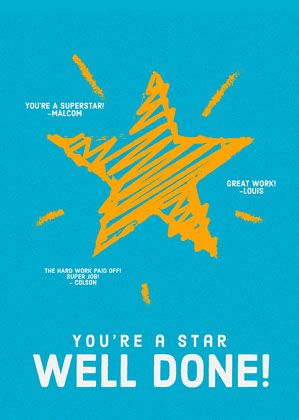 Blue and Orange Star Doodle Congratulations Card God bedring-kort