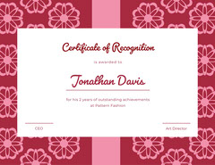 Fashion Certificate of Recognition Pattern Design