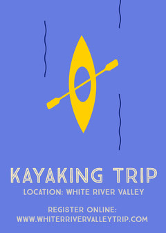 Blue Illustrated Kayaking Trip Flyer Water