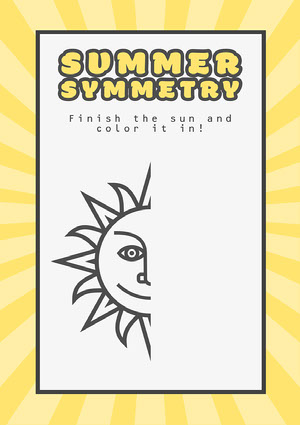 Yellow Summer Symmetry Draw the Sun A4 Worksheet Coloring Pages Templates