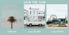 Blue Save The Date Collage Instagram Landscape  California