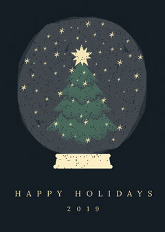 Black and Yellow, Happy Holidays Card Trees