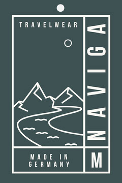 Green Illustrated Active Wear Clothing Tag with Mountains Clothing