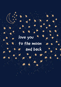 Navy Blue To The Moon and Back Valentines Card Messages d'amour