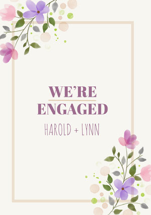 Violet and White Engagement Announcement Annonce