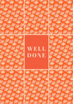 Orange Floral Pattern Congratulations Card Biglietto di congratulazioni