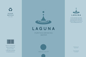 Blue Water Bottle Label Etichetta