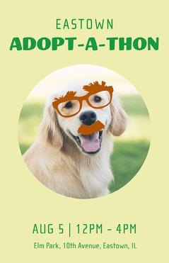 Yellow Green Dog Adoption Poster Dog Adoption Flyer