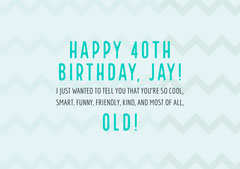 Blue and White, Light Toned Funny Birthday Wishes Card Jokes