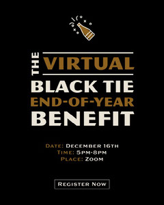 Black and Gold Fancy Fundraising Event Invitation Black And White