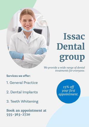 Blue Dental Group Flyer Dentist Poster