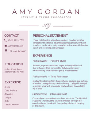 Pastel Colored Fashion Stylist Resume Resume  Examples