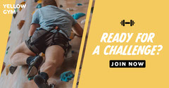 Yellow and Black Sport Ready For A Challenge Facebook Ad Gym