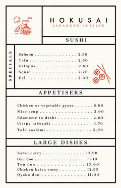 Japanese Restaurant Menu Japan