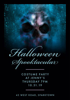 Black and Blue Skull Blue Halloween Party Invitation Holiday Party Flyer