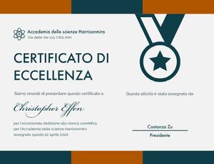CERTIFICATO DI <BR>ECCELLENZA  Certificato