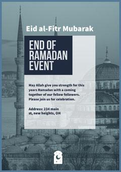 Blue and White End Of Ramadan Event Flyer Eid Mubarak
