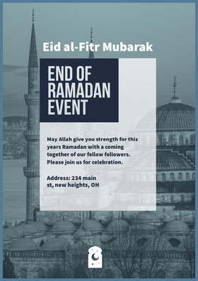 Blue and White End Of Ramadan Event Flyer Veranstaltungs-Flyer