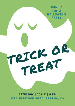 Ghost Trick Or Treat Halloween Party Invitation Halloween Party Invitation