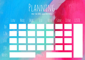 Multicolour Paint Background Weekly Planner A4 Planificateur