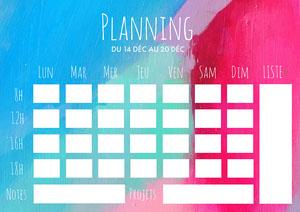 Multicolour Paint Background Weekly Planner A4 Planificateur