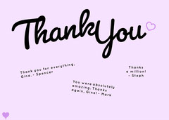 purple cursive group thank you card Purple