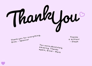 purple cursive group thank you card Group Thank You Card