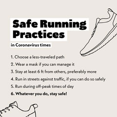 Coronavirus Running Advice Infographic Instagram Square with Shoe Illustrations Shoes