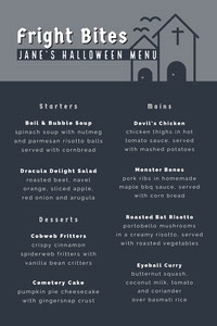 Grey and White Halloween Murder Mystery Party Menu Festa di Halloween