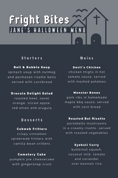 Grey and White Halloween Murder Mystery Party Menu Halloween Party Menu
