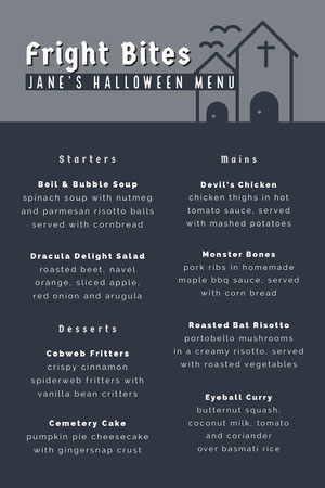 Grey and White Halloween Murder Mystery Party Menu Halloween Party