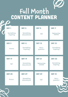 White and Green Month of Content Schedule A4 Blogger