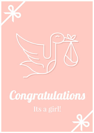 Pink Illustrated Congratulations on Birth Card with Stork Carte de félicitations