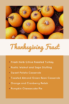 Orange and Beige Warm Toned Thanksgiving Feast Menu  Holiday Party Flyer