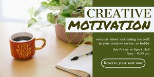 White and Green Creative Motivation Social Post Motivationsplakat