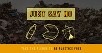 Yellow and Grey Plastic Free Social Post Grassroot Movement Posters