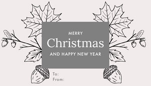 Grey and Black, Christmas Gift Tag Card Christmas Card
