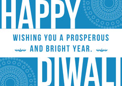 Blue and White, Light Toned Diwali Wishes Card Festival