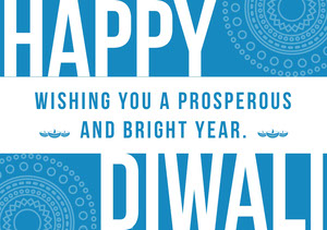 Blue and White, Light Toned Diwali Wishes Card Diwali