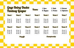 Retro Checkerboard Fantasy Football Schedule Fantasy Football Schedule
