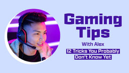 Purple and Blue Gaming Tips with Photo YouTube Thumbnail