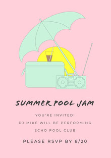 Green and Pink Pool Party Invitation Invitation